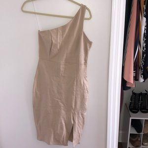 Tan one shoulder midi dress